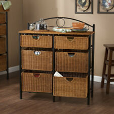 Southern Enterprises Iron-Wicker Storage Chest with 6 Baskets Oc1888 New