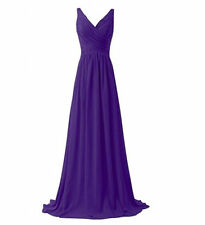 Women Long Chiffon Bridesmaid Dress Formal Evening Party Ball Gown Size 6-20 New