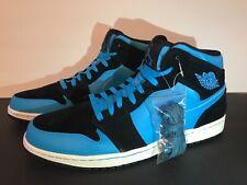 0ef03d20f73247 Nike Air Jordan 1 Mid Blue Black WHITE 554724–017 Men s Shoe Size 15 EUC
