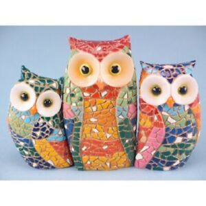 Beautiful Set of 3 Mosaic Owls Ornament Figurine Home Decoration 12cm