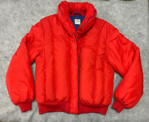 Vintage 1990s Goose Down Red Puffy Men's Size Large Jacket Snow Coat Zip Up