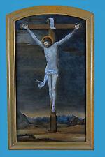 'Jesus am Kreuz' Hinterglasbild ~1780 Luzern/Beromünster monogr. FRI: STE: PINX: