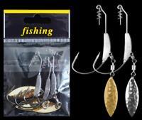 3PCS Fishing Crank Hook with Lead Metal Spoon Sequins Soft Bait Soft Worm Hooks
