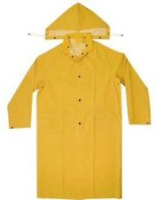 New PVC Polyester Long Rain Coat Gear W/ Detachable Hood Raincoat