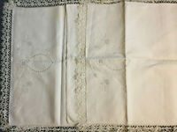 VINTAGE 2 X Cream Linen Cut Out Crochet Lace Whitework Embroidered PILLOW CASES