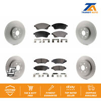 Front Rear Coated Disc Rotors & Semi-Metallic Brake Pads Fits Cadillac Srx Saab