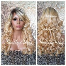 Lace Front Wig Human Hair Blend Golden Blonde Dark Root Curly Bangs Heat Safe Ok