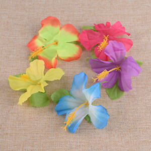 72x Artificial Hibiscus Flowers Petal Hawaiian Luau Beach Party Decoration Home