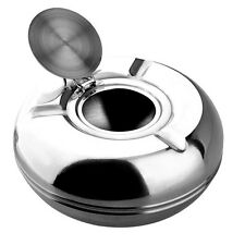 """1Pcs SILVER MELAMINE WINDPROOF ASHTRAY WITH LID 5 3/4"""" Kit Pop."""