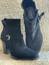 Women's IVANKA TRUMP Black Suede Ankle Buckle Western Boots Size 7.5 $150
