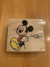 Disney Banner Mickey Mouse Stamp Rubber Stampede Holding Sign Smiling A-232-E