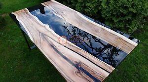 Epoxy Black Resin Dining Center Top Table Handmade Wooden Designer Furniture Art