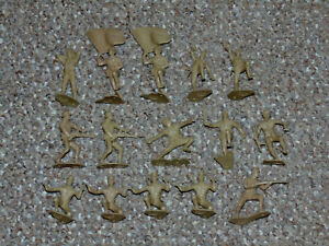 1960s Marx Lot of 15 World War II 54mm Tan Japanese Soldiers WWII Army Men