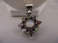 """STUNNING VTG Estate Sterling Silver 925 Multi Gemstone Pendant 22"""" Necklace"""