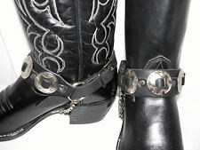 Pair Mens Silver Tone Concho Bootstraps Black Leather & Chain Boot Strap