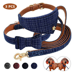 Bow Tie Leather Dog Collar & Cat Kitten Dog Neck Scarf Neckerchief & Dog Lead
