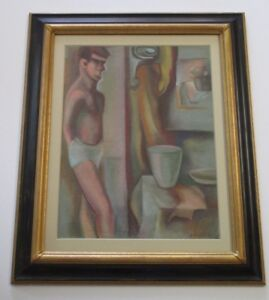 SPINGARN SIGNED VINTAGE MID CENTURY MODERN DRAWING MAN UNDERWEAR EXPRESSIONISM