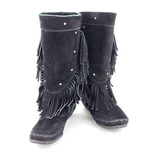 Minnetonka boots Black Silver Woman Authentic Used S710