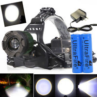 250000Lumens T6 Zoomable Focus LED Headlamp Head Light 18650 Battery+Charger USA