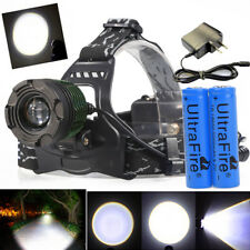 200000Lumens T6 Zoomable Focus LED Headlamp Head Light 18650 Battery+Charger USA
