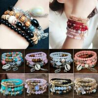 Bracelet Crystal Beaded Stone Boho Multilayer Women Jewelry Natural Bangle 4Pcs