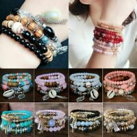Bracelet Crystal Beaded Stone Boho Multilayer Women Jewelry Natural Bangle 4Pcs