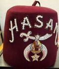 """Vintage SHRINERS Hat/FEZ """"Hasan"""" with Case D. Turin & Co. 7 3/8"""" Florida Jeweled"""