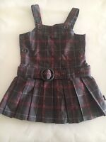 Pumpkin Patch Pleated Brown Plaid Drop Waist Belted Dress Size 3T.