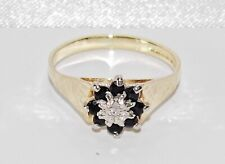 9ct Gold Blue Sapphire & Diamond Cluster Ring size N