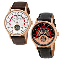 Lucien Piccard Transway Open Heart Automatic Gold Men's Watch - Choose color