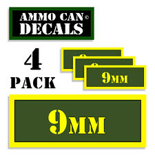 """9MM Ammo Can 4x 9MM Labels Ammunition Case 3""""x1.15"""" 9MM sticker decals 4 pack AG"""