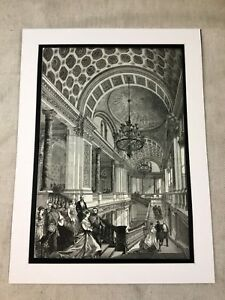 Antique Print Foreign Office Architecture Grand Staircase 1868 LARGE Victorian