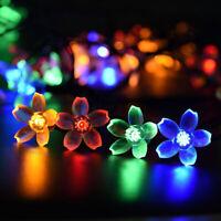 50 LED Solar Fairy String Lights Garden Tree Beads Blossom Lamp Decor Outdoor US