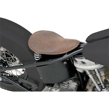 Distressed Brown Leather Small Low Profile Solo Seat for Custom Harley Bobber