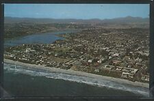 CA Carlsbad CHROME 1950's AERIAL VIEW of TOWN & BUENA VISTA LAGOON by Amescolor