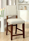 Contemporary Natural Brown Counter Height Chair Set of 2 Ivory Upholster Rustic