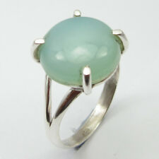 925 Sterling Silver Genuine AQUA CHALCEDONY Fashion Ring Size L ½ ! JEWELRY