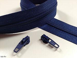 endlos Reißverschluss 3 mm + Schieber Marineblau `G.Preis0,58 €/m´