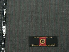 H.LESSER & SONS VINTAGE SUITING FABRIC, GREY/BLACK WITH RED PINSTRIPE