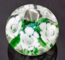 Gibson Glass Paperweight With White Trumpet Flowers With Controlled Bubbles