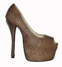 """New Brown snake embossed peep toe 6"""" HIGH HEEL Hidden PLATFORM Pump shoes Sz 5.5"""