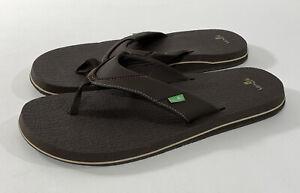 NEW w/ Tags Men's SANUK Beer Cozy Flip Flops / Sandals Brown Size 13