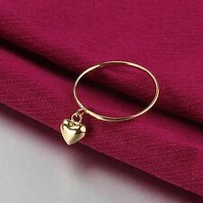 Fine Pure Au750 18K Yellow Gold Band Women's Lucky Smooth Heart Ring Xlee