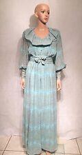 VTG  70s Hanae Mori Dress ILGWU Baby Blue Gold Metallic Threading Chiffon FORMAL