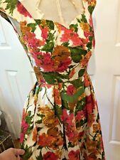 Vintage Dress 1960 Floral Cotton MadMen Rockabilly Petite 2-4