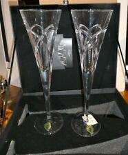 Waterford Crystal Love & Romance Wishes Pair of Champagne Flutes-NEW-With Box