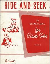 Vintage HIDE and SEEK Sheet Music William G. James ©1961 Piano Solo cute Rabbits