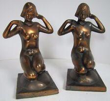 Antique Art Deco BRONZART NUDE Beauties Bookends Gorgeous Ladies Kneeling Signed