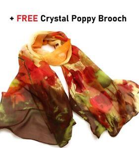 Scarf Women Ladies Floral Poppy Design Autumn Colours Silk Feel Premium Shawl