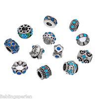 FL 12 Mix Charm European Perlen Beads Antiksilber Blau Strass fit Armband Neu